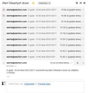 Elerton powiadomienie e-mail otwartych drzwi