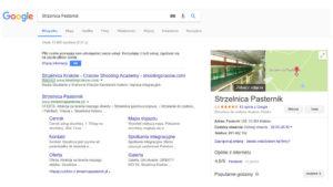 Strzelnica Pasternik Wizytówka Google